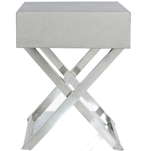 Pewter Faux Leather Side Table