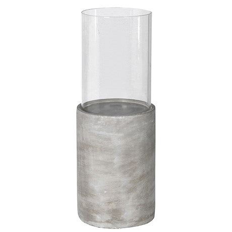 Large Glass Hurricane with Cement Base