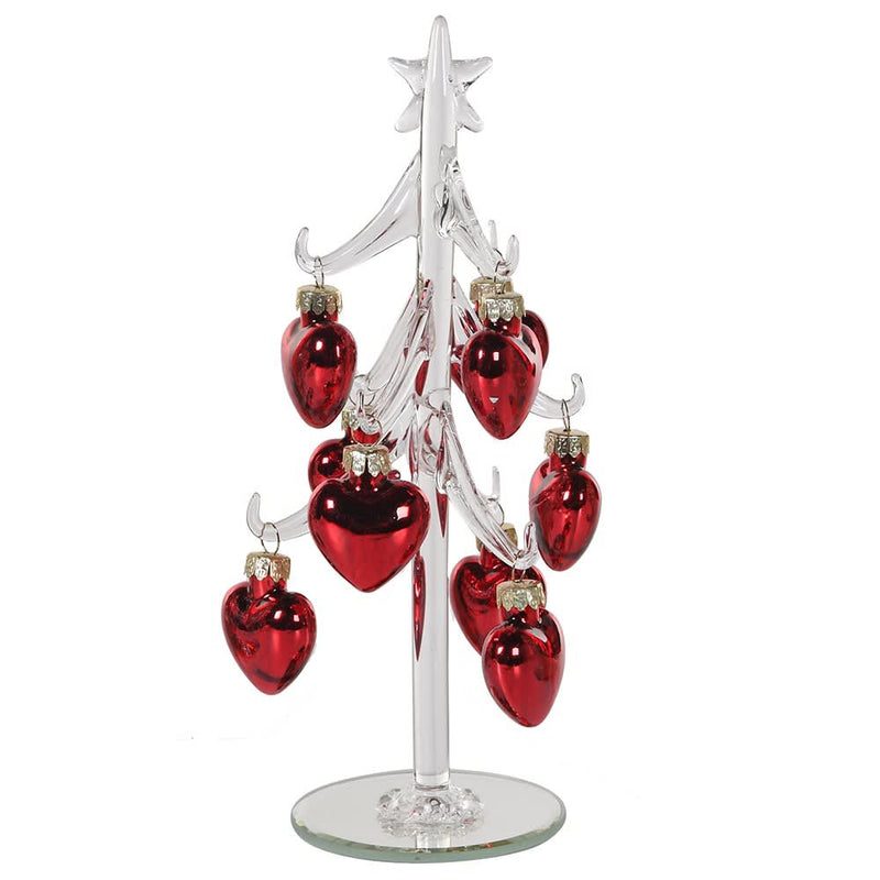 Glass Tree With Red Hearts
