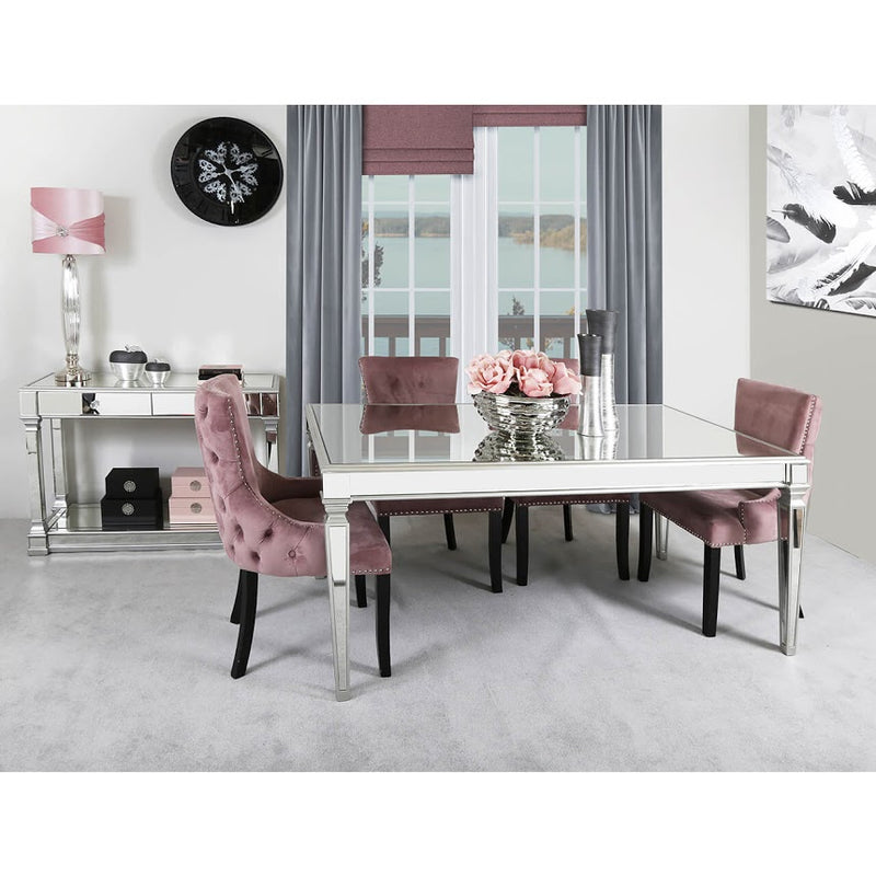 Silver Mirrored Dining Table