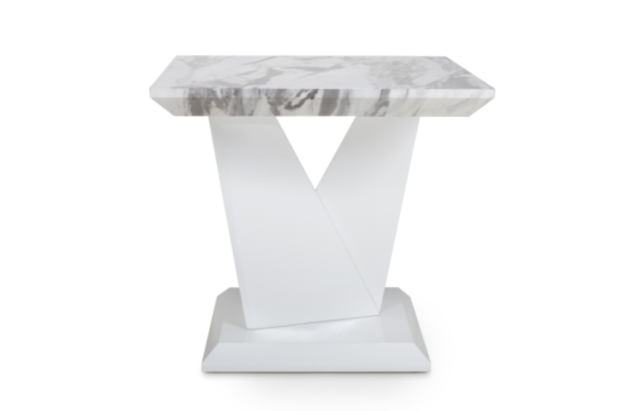 Caleb White Marble Side Table