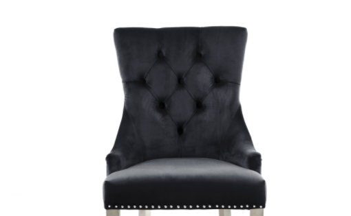 Ryan Black Velvet Dining Chair With Black Legs
