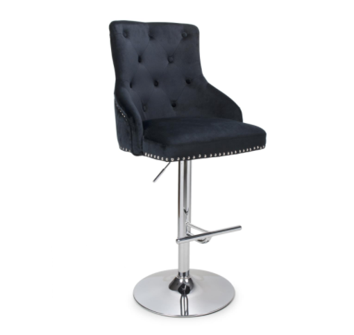 Leo Black Brushed Velvet Bar Stool