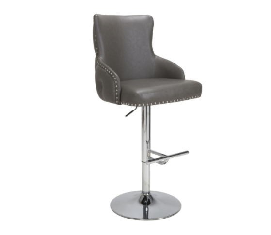 Fitz Graphite Leather Effect Bar Stool