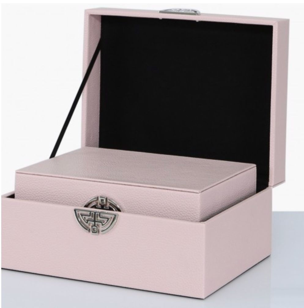 Set of 2 Pink Faux Leather Boxes