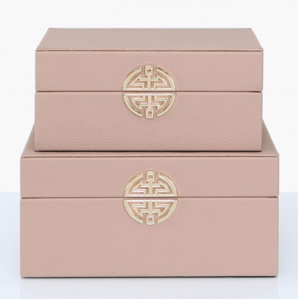 Set of 2 Rose Pink Faux Leather Boxes