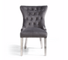 Set of 2 Grey Lion Head Accent Chair with Steel Legs