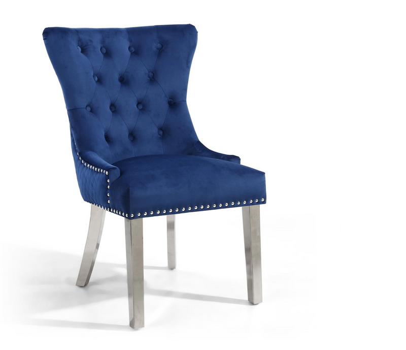 Blue Lion Head Accent Chair with Steel Legs