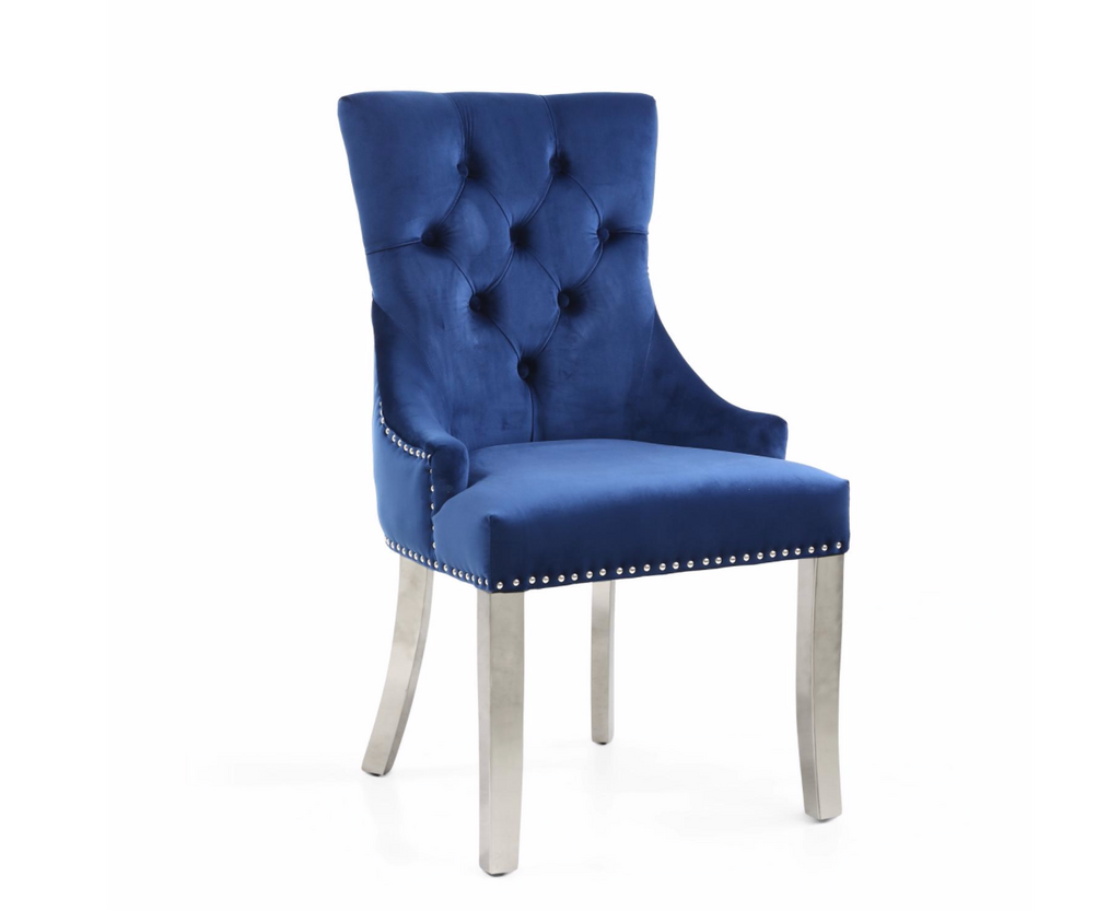 Blue Ring Back Accent Chair with Steel Legs