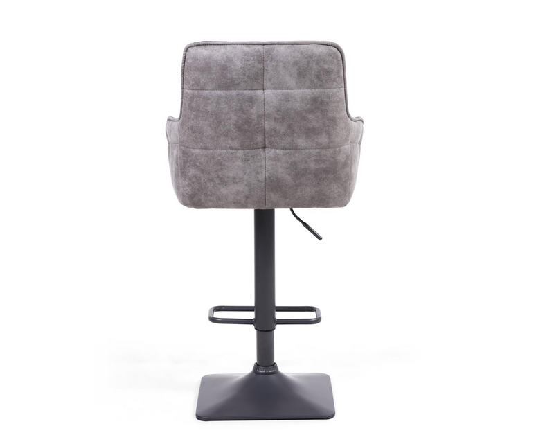 Set of 2 Dark Grey Suede Bar Stools