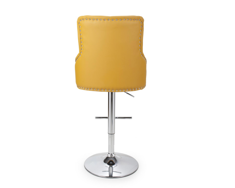 Leo Mustard Leather Bar Stool