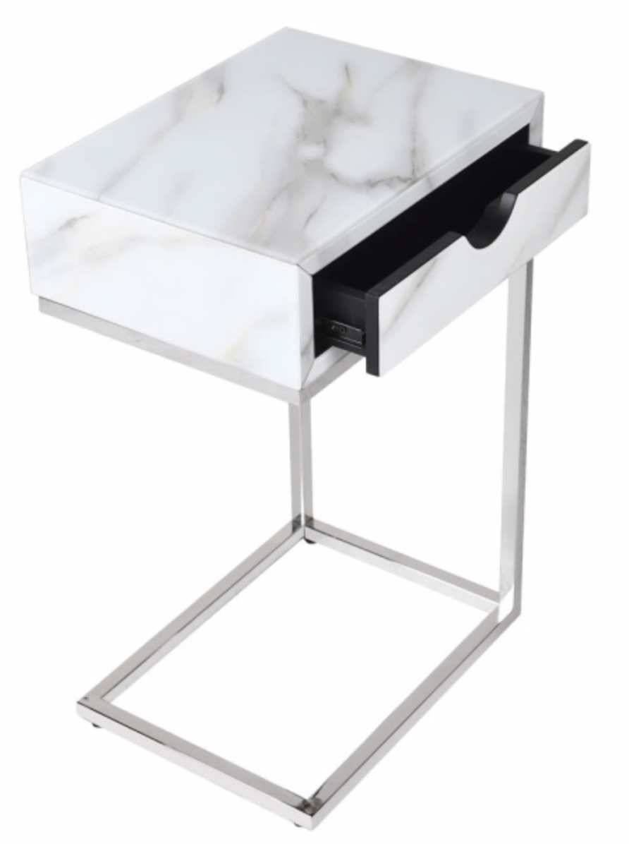 Marble Effect Silver Side Table