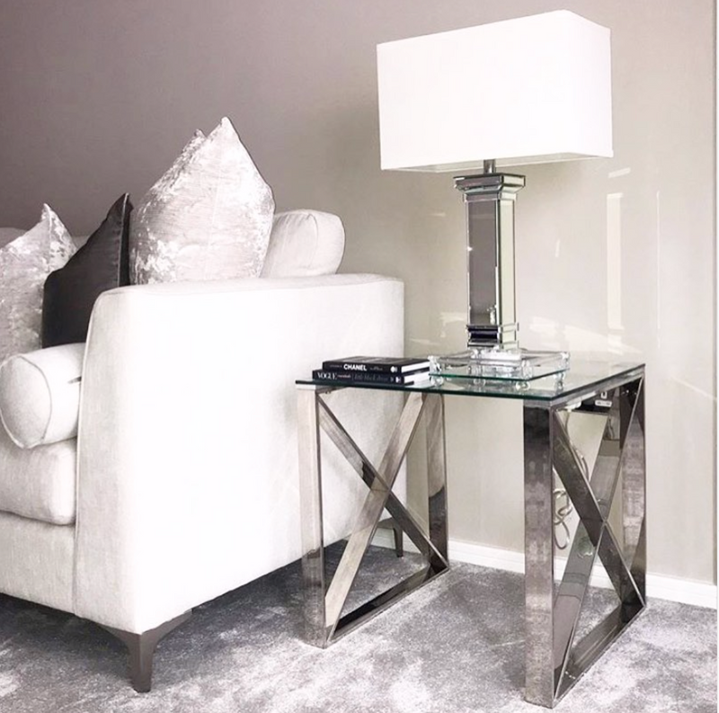 Mirrored Column Table Lamp