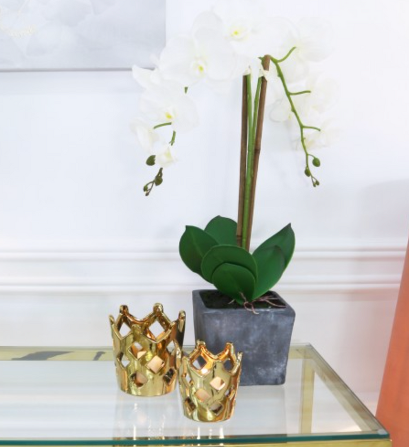 Medium Gold Crown Tealight Holder