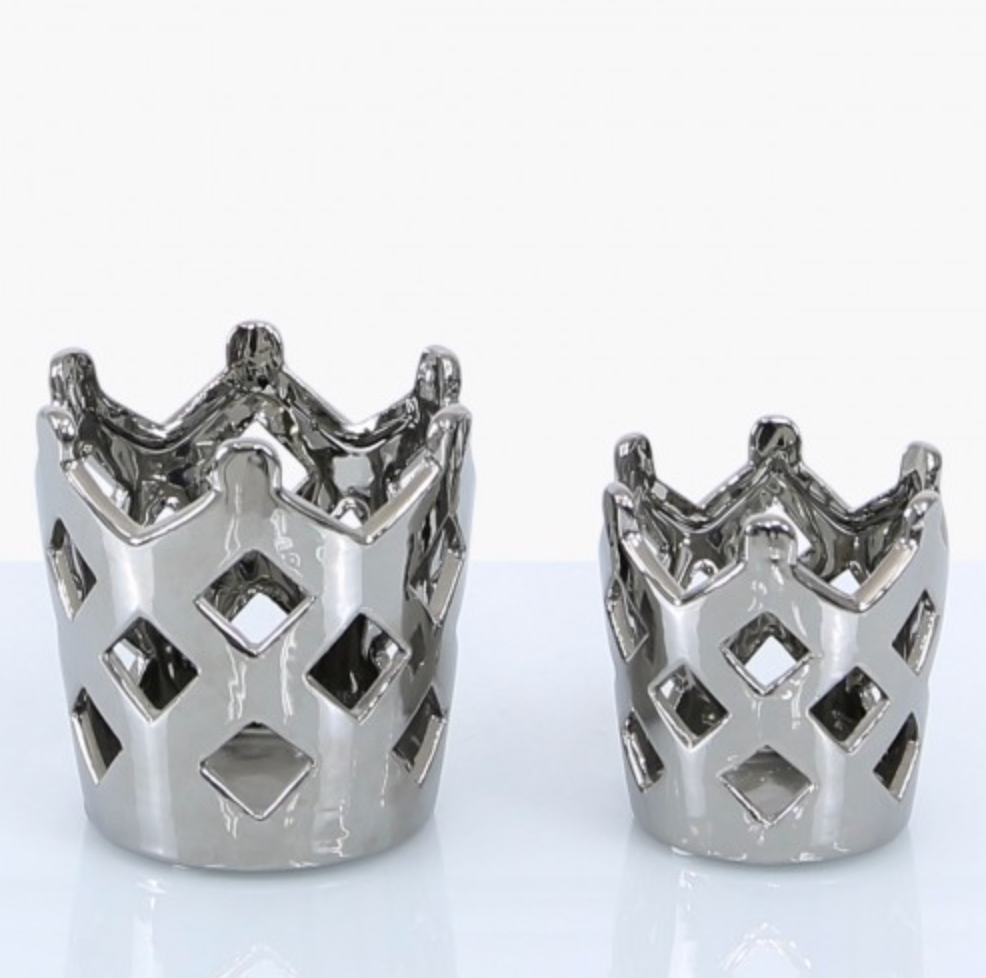 Silver Crown Tealight Holder