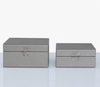 Pewter Faux Leather Boxes
