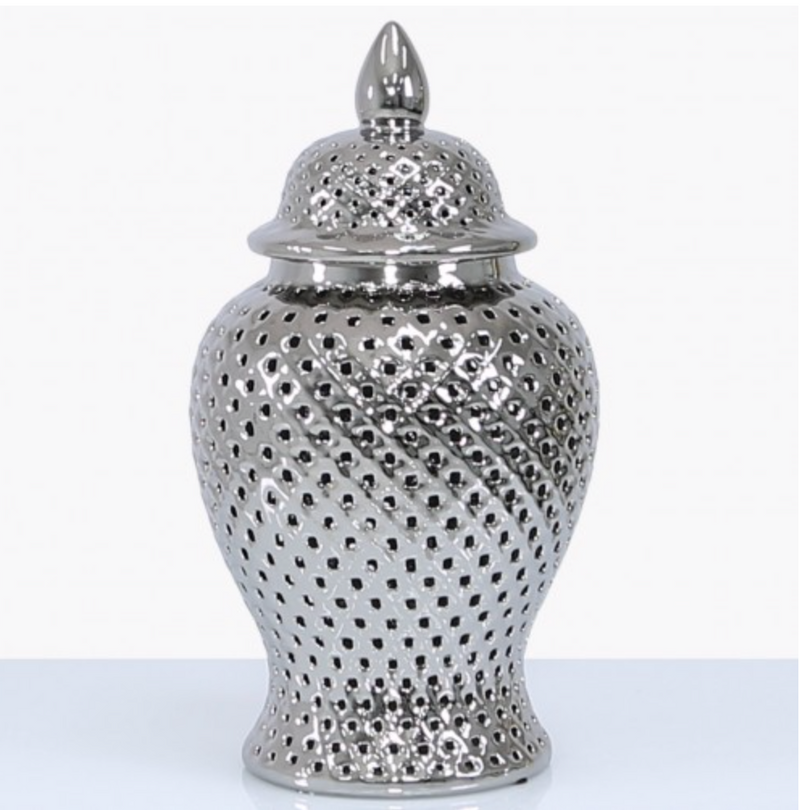 Small Silver Pierced Jar