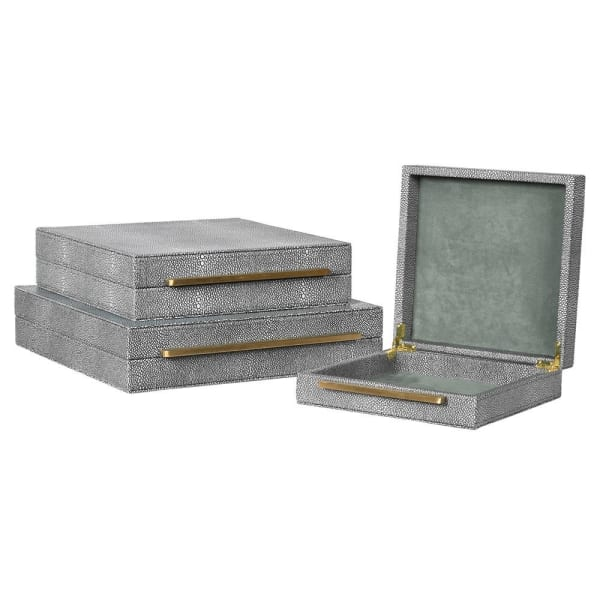 Set of 3 Grey Shagreen Boxes
