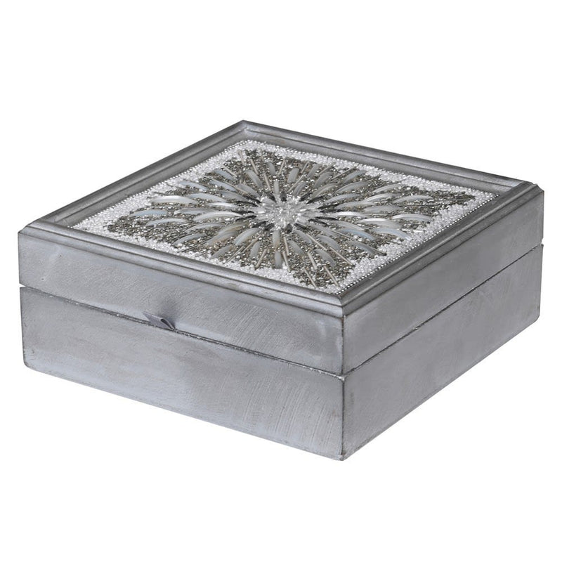Silver Beaded Trinket Box