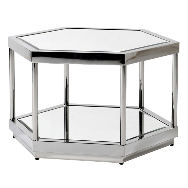 Octagonal Silver Mirrored Table