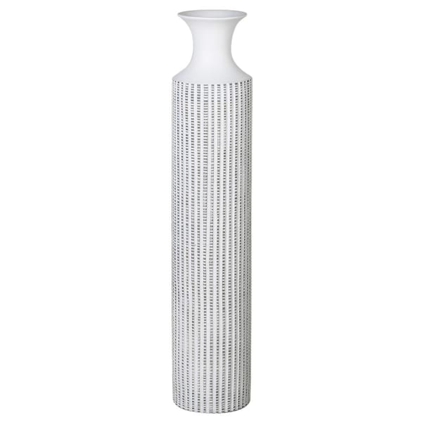 White Striped Trumpet Vase