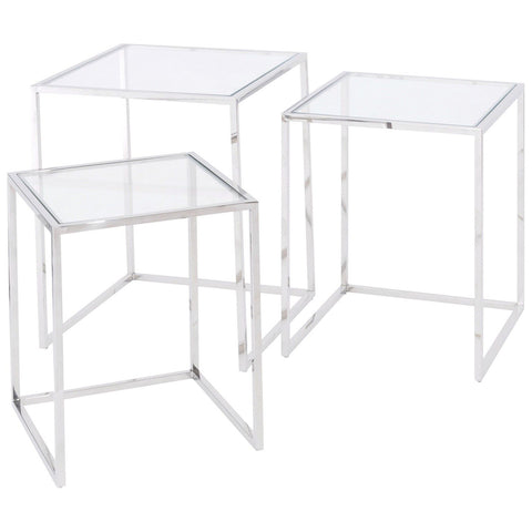 Linton Stainless Steel Set Of 3 Nesting Tables