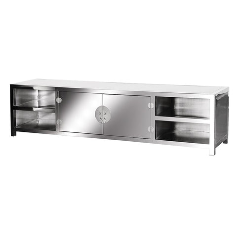 Silver Mirrored Media Unit