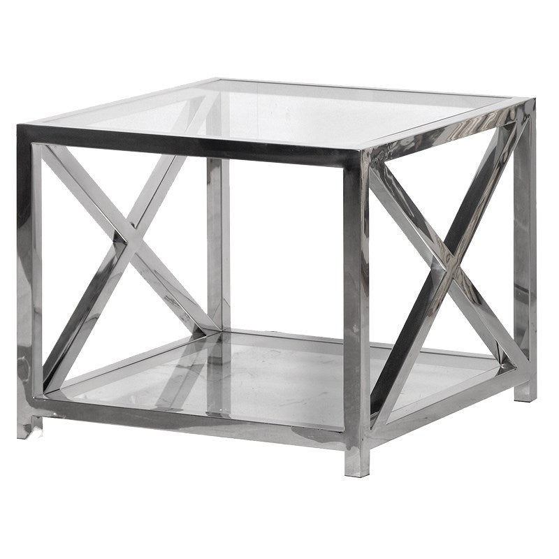 Square Glass Steel End Table