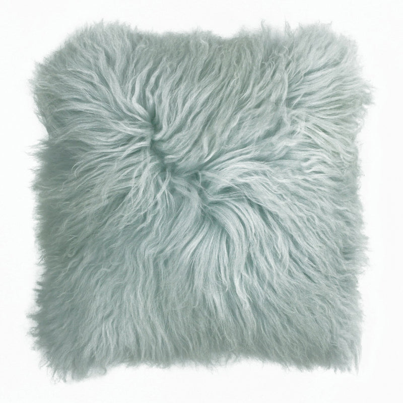Baby Blue Mongolian Wool Cushion Cover