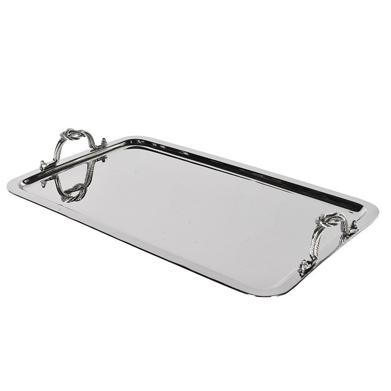 Large Silver Tray with Rope Detail Handles