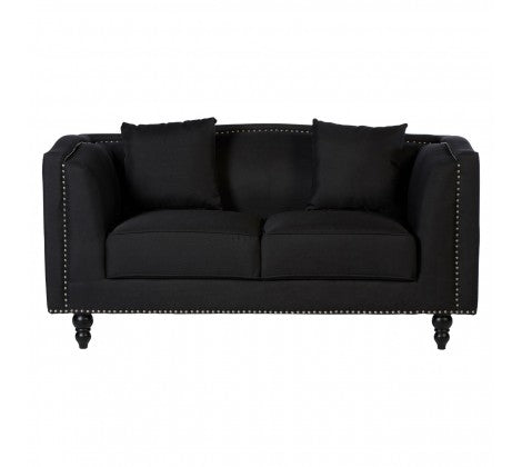 Black and Silver 2 Seater Sofa