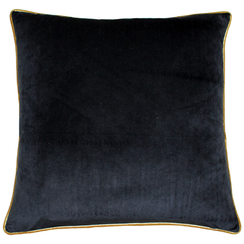 Black Cushion Cover with Gold Piping