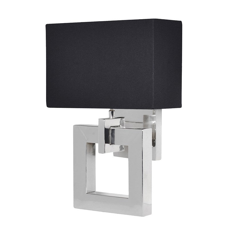Chrome Square Wall Light With Black Shade