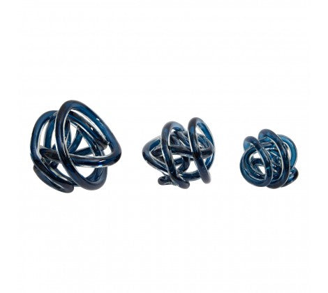 Blue Glass Knots Set of 3