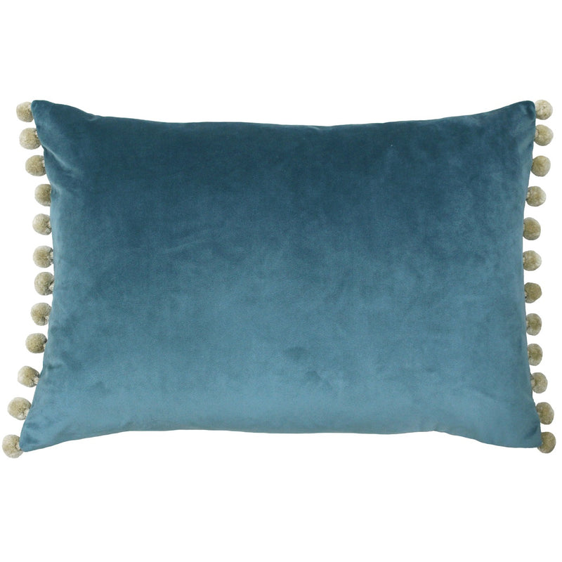 Blue and Natural Pom Pom Cushion Cover