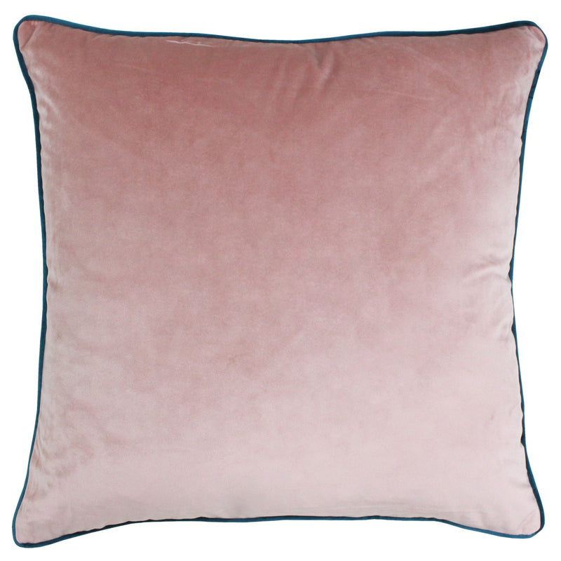 Blush Cushion Cover with Teal Piping