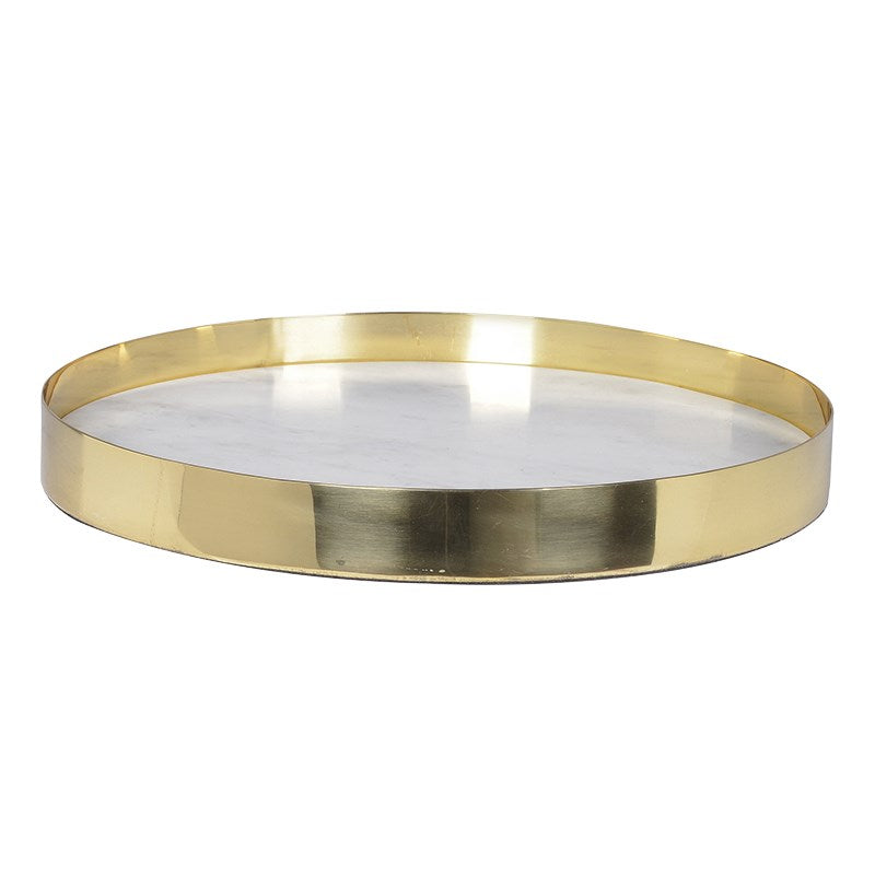 Round Marble Tray With Gold Edge