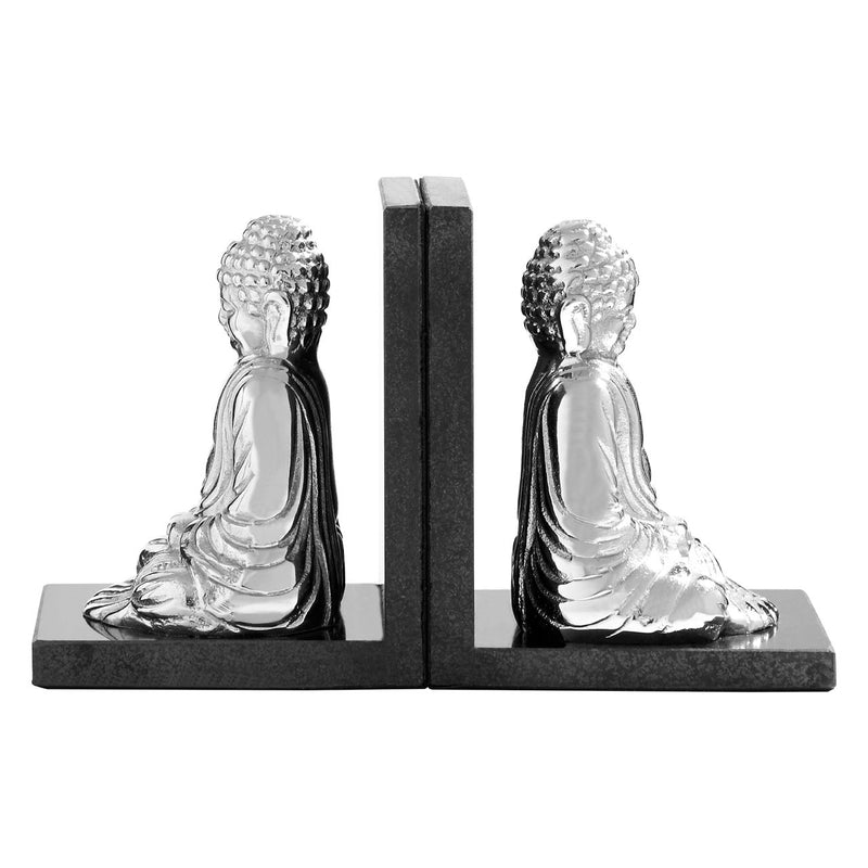 Silver Buddha Bookends