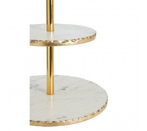 2 Tier White Marble Cake Stand