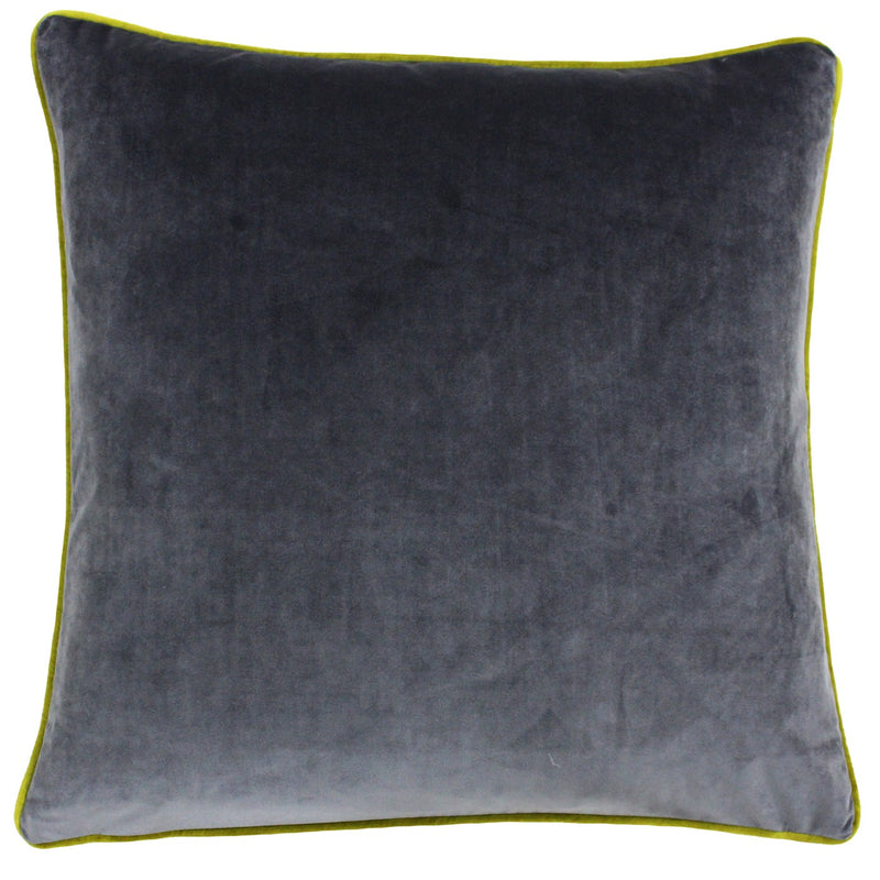 Charcoal Cushion Cover with Lime Piping