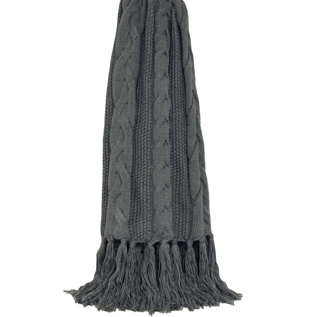 Charcoal Plait Knit Throw