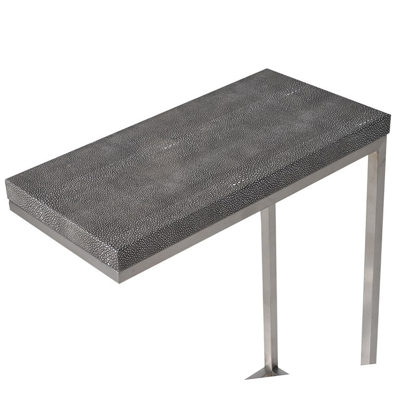 Faux Shagreen Leather Grey End Table