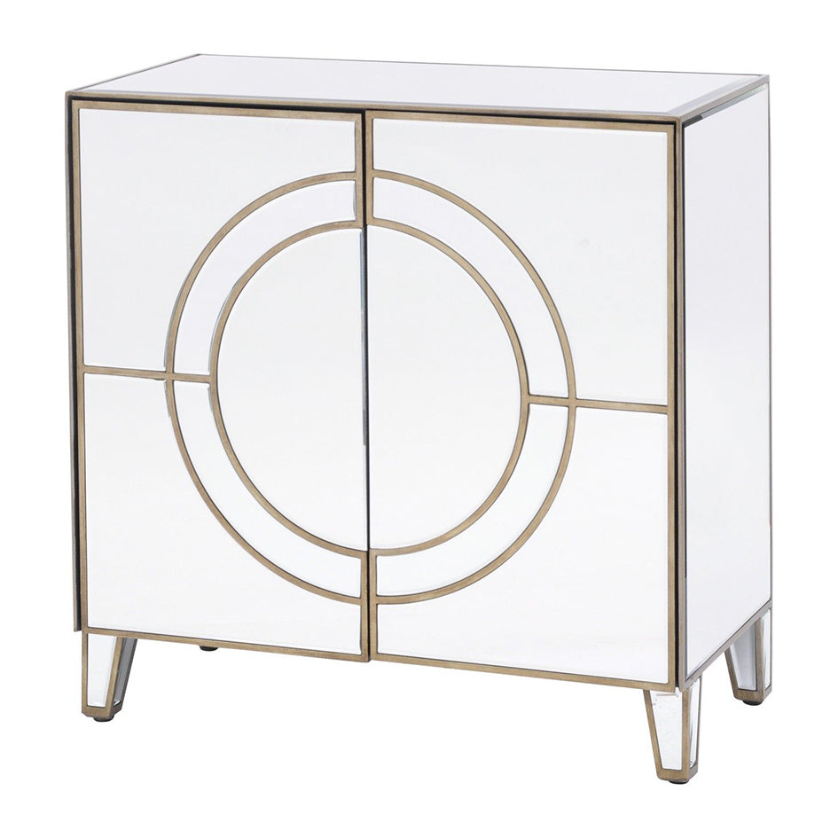 Art Deco Circle Mirrored 2 Door Cabinet