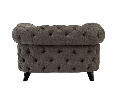 Classic Grey Buttoned Armchair