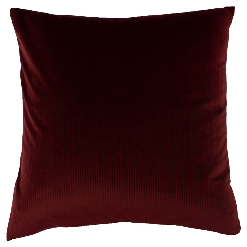 Ox Blood Red Ribbed Cushion Cover