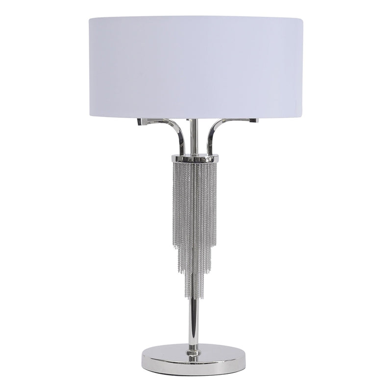 Langan Nickel Table Lamp With White Shade