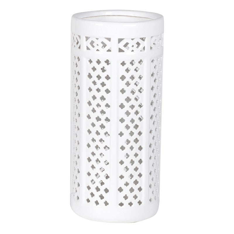 White Pierced Umbrella Stand