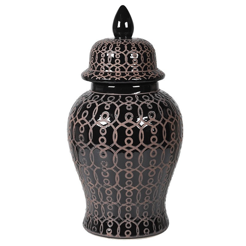 Black Patterned Ginger Jar