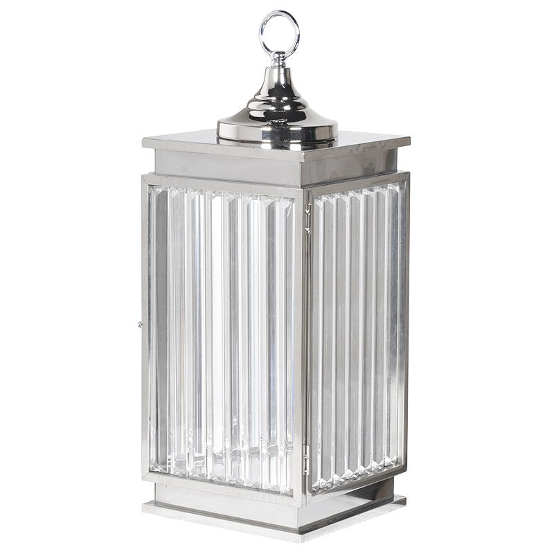 Large Chrome Crystal Lantern