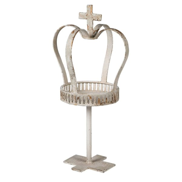 Distressed Crown Candle Holder